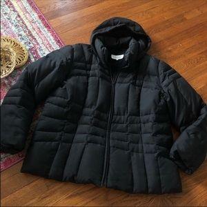 Calvin Klein black winter puffer coat with hood